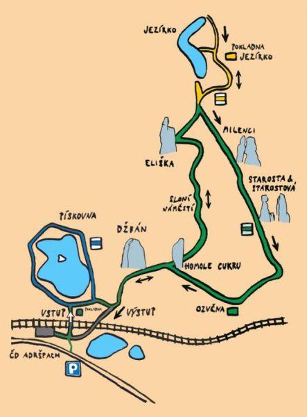 Mapa turistického okruhu Skalné mesto Adršpach