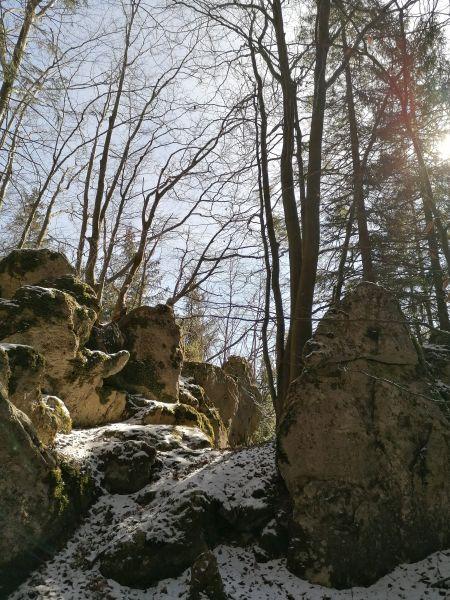 skalne mesto v lese nad Komjatnou